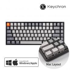 Keychron K2 화이트 LED 맥 애플/윈도우 라이트 그레이 키보드(블루투스) 한글 - 스위치선택